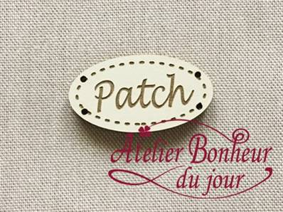 Patch oval ivoire